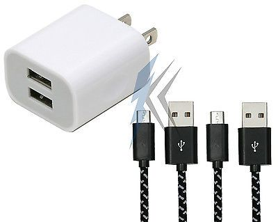 Dual USB Wall Charger + 2 6ft Braided Micro Cable Samsung S6 S7 Edge Note 4 5 LG