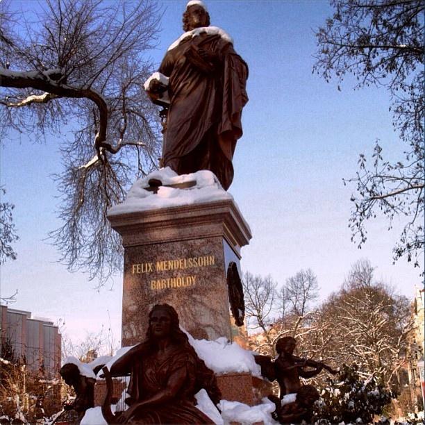 Snow on the Mendelssohn statue outside Thomas Church    Picture Courtesy: Devaki Menon #CoxandKings