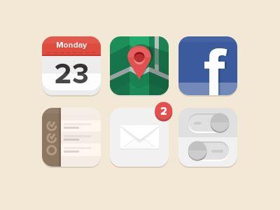 Flat iOS icons (wip) by Luboš Volkov
