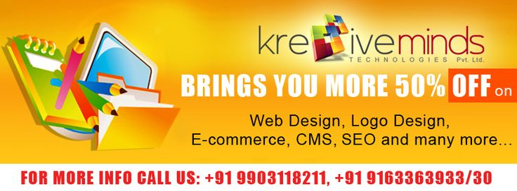 Brings you more 50% Off on Web Design, Logo Design, E-commerce, CMS, SEO and many more.