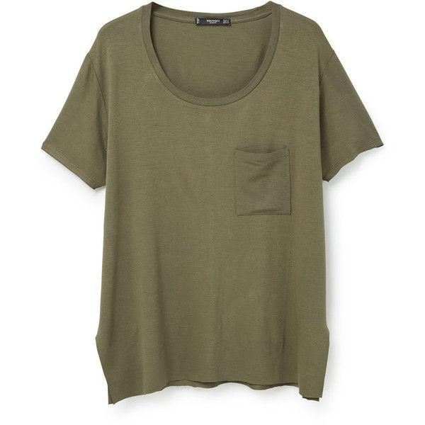 MANGO Pocket T-Shirt (€18) ❤ liked on Polyvore featuring tops, t-shirts, shirts, pocket shirt, pocket t shirts, short sleeve tops, brown tee and tee-shirt