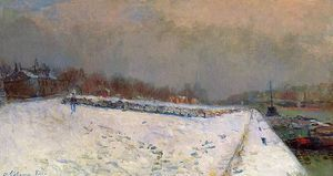 The Port of Bercy in Winter Snow Effect - (Albert Charles Lebourg)