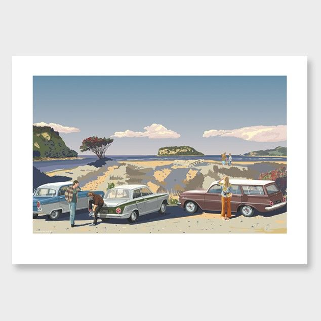 Whangamata Beach Golden Art Print by Contour Creative Studio
