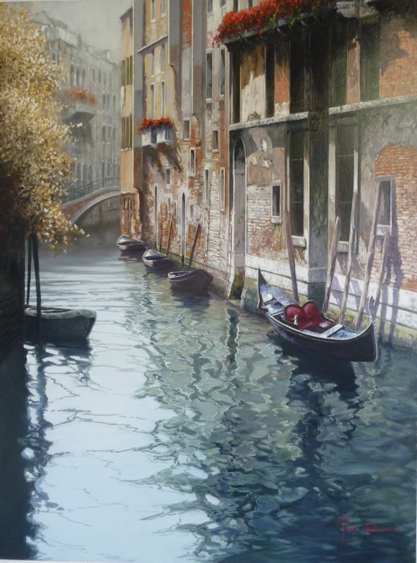 Raffaele Fiore - Green reflections - oil on canvas
