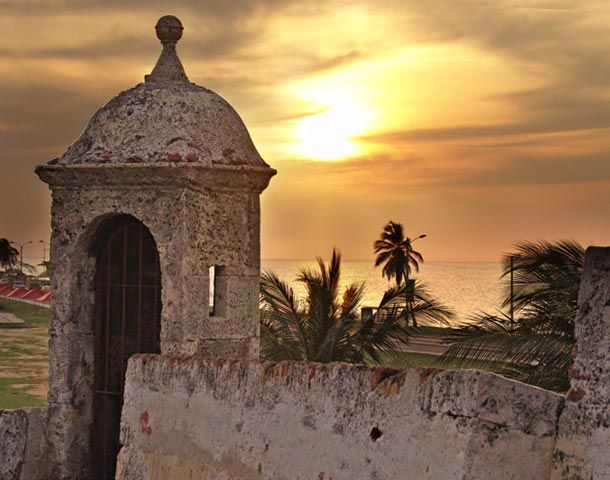 Vista del atardecer desde las murallas de Cartagena de Indias - Colombia ❤