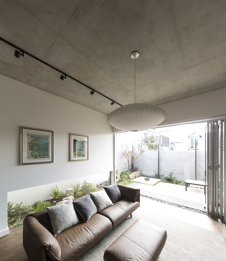 (c) Brett Boardman Sydney Low Window Concrete Living Room Pendant Light Inner City