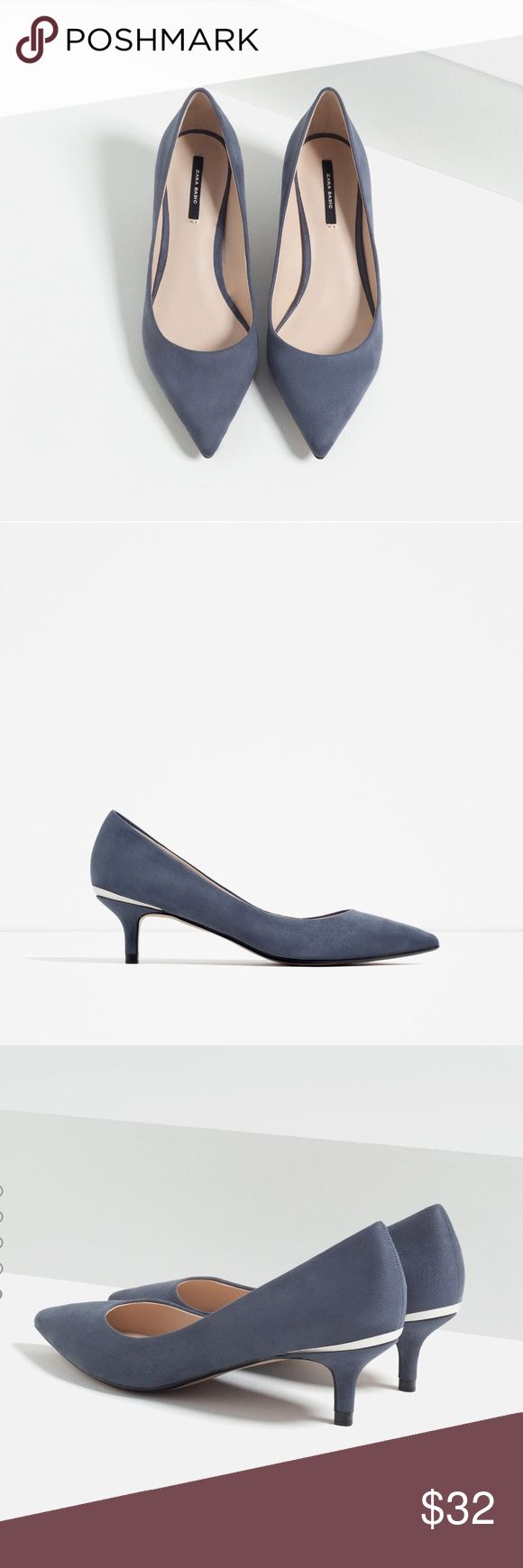 Zara Low-heeled Shoes Blue-gray color. Heel height 5cm. Cute, classy, and comfortable. Metallic silver detail at the back. Brand new with tags. US size 11, Euro size 42. Zara Shoes Heels