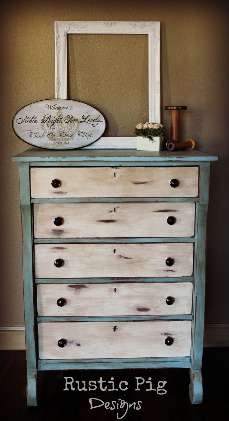 white paint, sand to distressed perfection, then dark stain (use rag to wipe off excess stain to your liking)