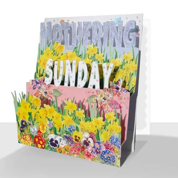 Pop Up Mothering Sunday Card - Spring Flowers, Unique Greeting Cards Online, Buy Luxury Handmade Cards, Unusual Cute Birthday Cards and Quality Christmas Cards by Paradis Terrestre