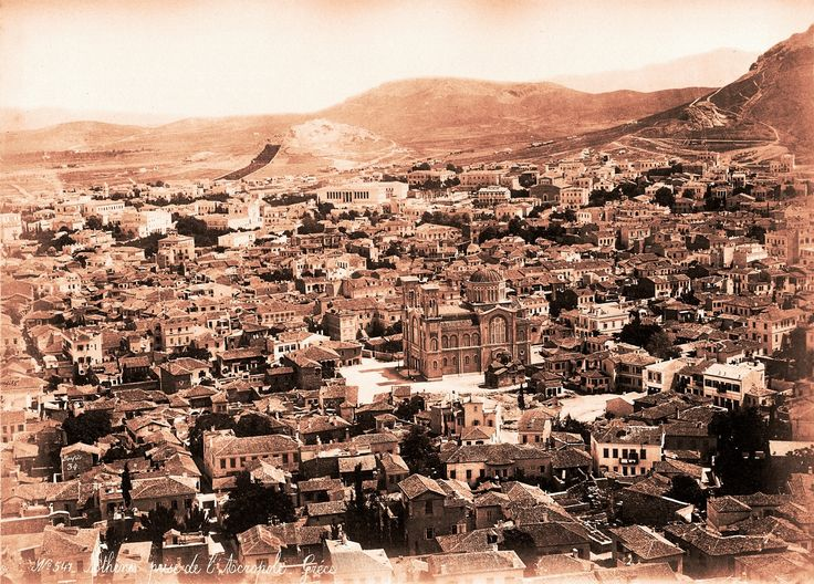 https://flic.kr/p/BHUrtZ | Athens view 1868 (Bonfils) | This is a Bonfils photo that I have not seen before -- and therefore probably rather rare.   The construction of the Athens Academy (next to the University) is clearly visible, but it is difficult to date. I have established the timeline of the Academy's construction: 1859 foundation stone laid 1861-4 slow construction (political problems) 1868 work resumed 1885 completion  Within this framework, the limited construction implies…