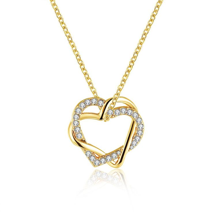 18K White Gold Plated Double Hearts Necklace