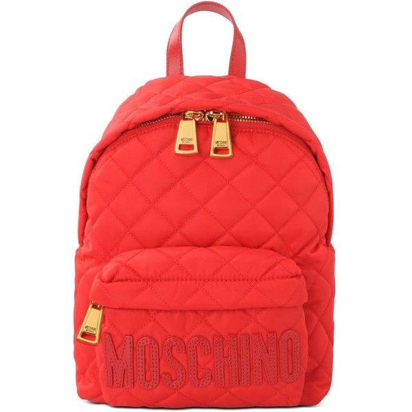 Moschino Rucksack ($370) ❤ liked on Polyvore featuring bags, backpacks, accessories, red, moschino backpack, zip bag, moschino, logo backpacks and day pack backpack