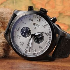 Corgeut 46mm PVD Case Pilot Style Full Chronograph Men Watch,Quartz