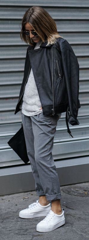 Anyone can rock the tomboy style. Camille Callen adds an androgynous edge to her look by wearing loose, boyfriend-style slacks and an oversized leather jacket.   Brands Not Specified. Cute Fall Outfits.