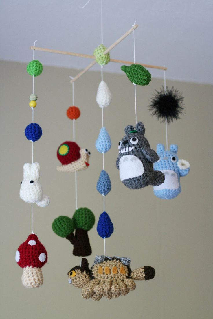 Crochet Totoro Nursery Mobile with Neko Bus (Made-To-Order) Customizable by AmiAmigos on Etsy https://www.etsy.com/listing/155920162/crochet-totoro-nursery-mobile-with-neko