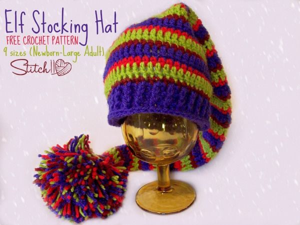 Free crochet pattern  Elf Stocking Hat in 9 sizes from newborn through  large adult by Stitch11  a702379dc61