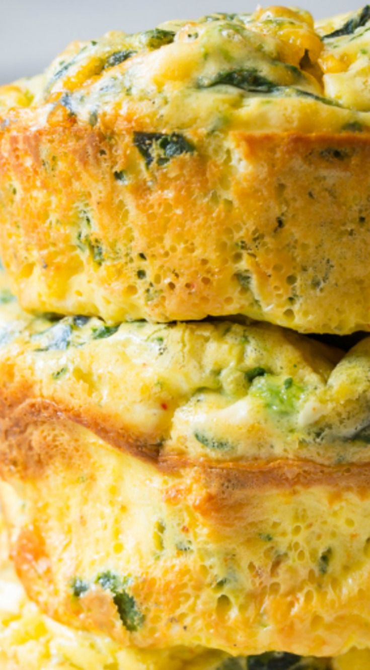 Spinach Scramble Egg Muffins ~ Fluffy and delish... They are high in protein, with a heavy dose of greens. They are also naturally gluten-free and can be made with low fat