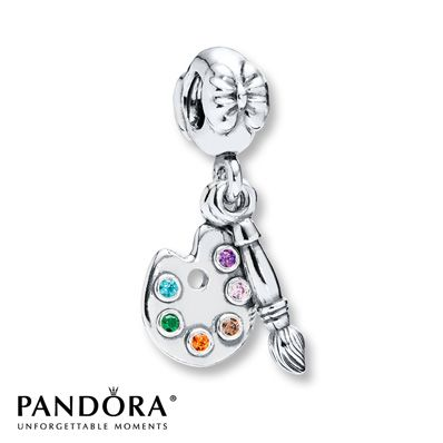 "Pandora ""Artist's Palette"" charm in Sterling Silver with Cubic Zirconias in pink, purple, brown, orange, green and blue- Spring 2014 Hobbies Collection. This one is perfect for my artist daughter, Natnicha! <3"