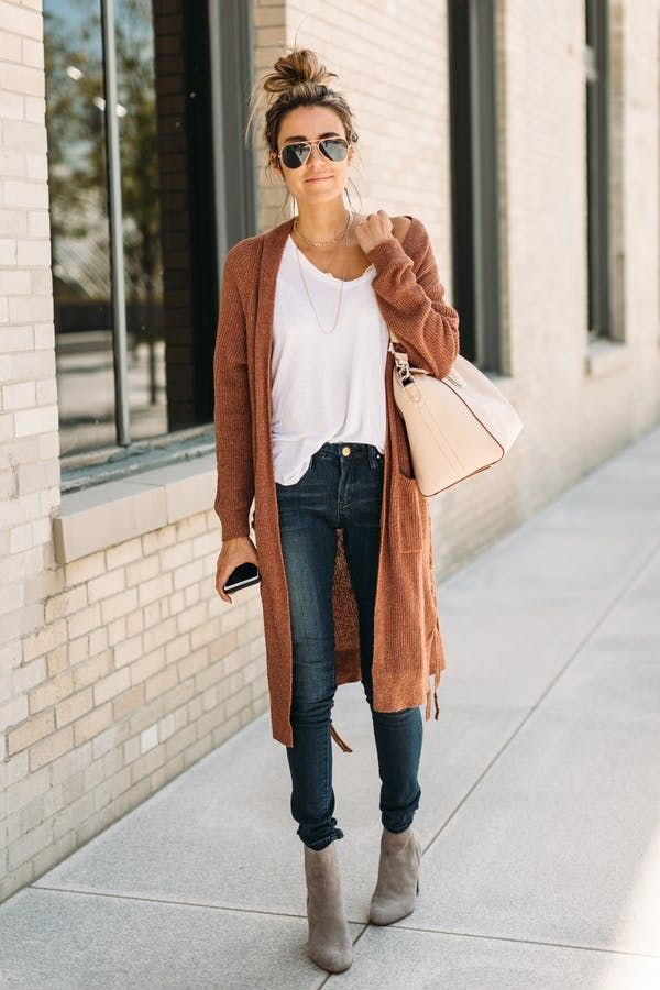 A long cardigan is the comfiest weekend substitute to a structured workweek coat.  @PureWow