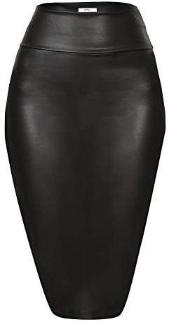 aa9f5108b1 Faux Leather Pencil Skirt Below Knee Length Skirt Midi Bodycon Skirt Womens,  USA