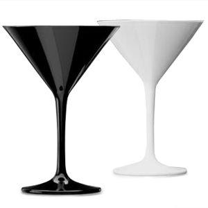 Polycarbonate Martini Glasses Black & White Set 7oz / 200ml