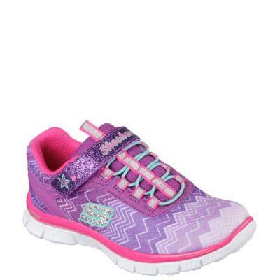 #Sneaker bimba in tessuto viola chiaro con chiusura in velcro e lacci elastici.
