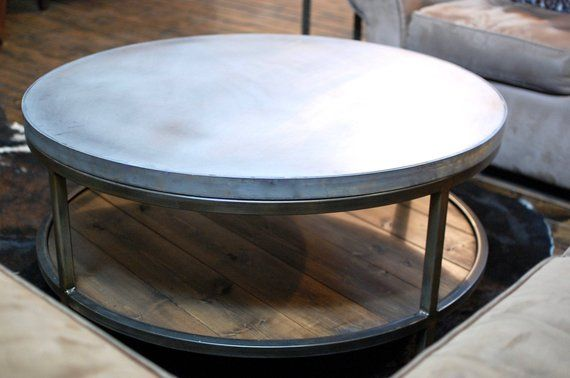 Industrial Round Zinc Coffee Table Two Tier Table Wood Etsy Zinc Coffee Table Coffee Table Wood Table Top