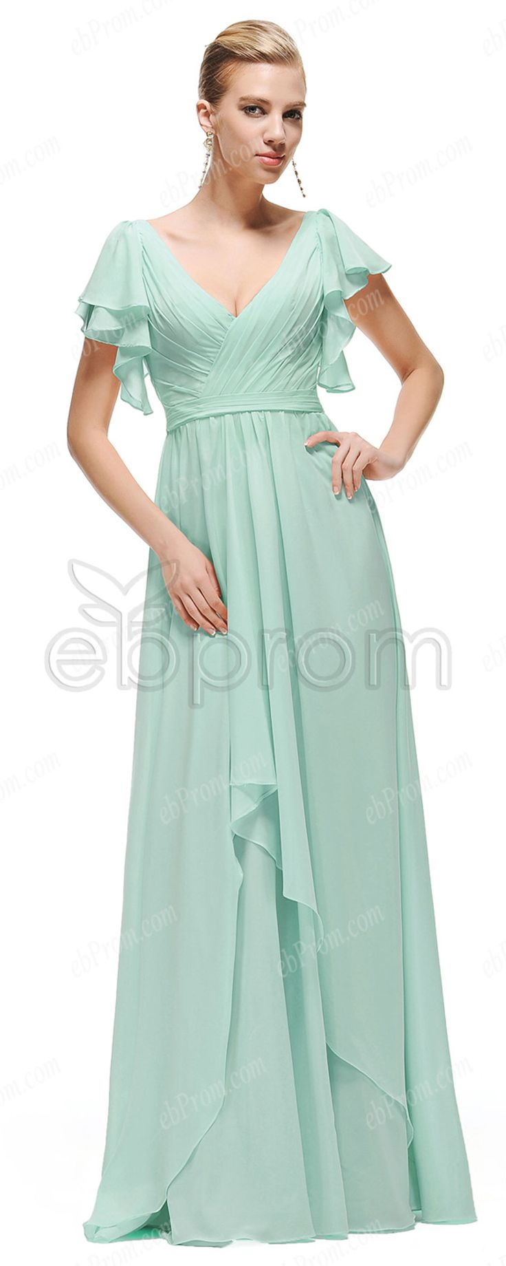 Mint green prom dresses with sleeves | Long prom dresses ...