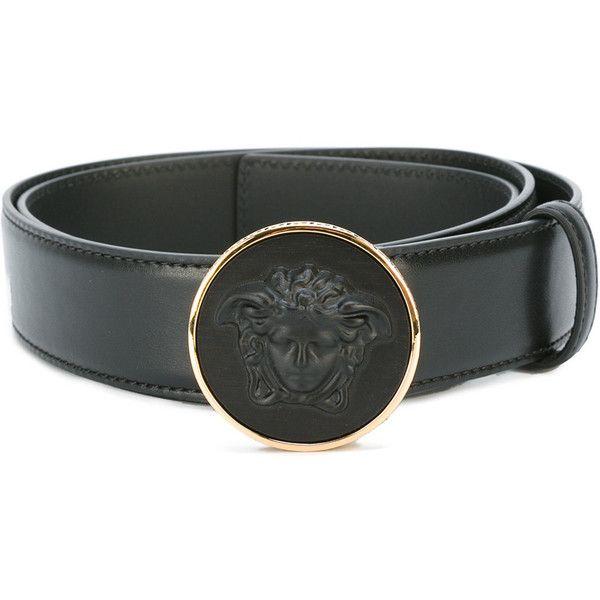 Versace - round Medusa buckle belt - men - Leather - 95 ($509) ❤ liked on Polyvore featuring men's fashion, men's accessories, men's belts, black, mens leather belts, versace mens belt, mens belts and mens genuine leather belts