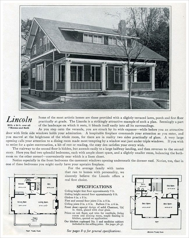 The lincoln 1920 bennett homes house exteriors early for Early 1900 house plans