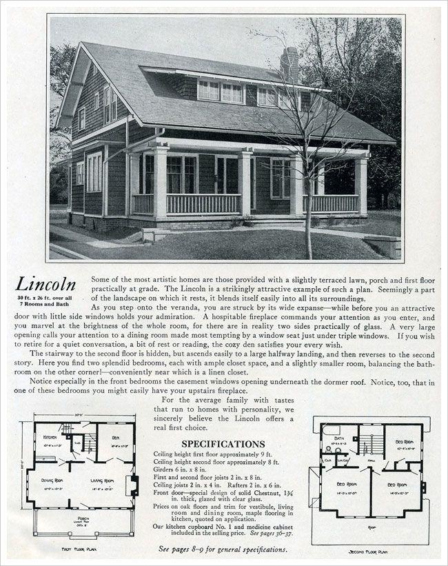 The Lincoln 1920 Bennett Homes House Plans Pinterest