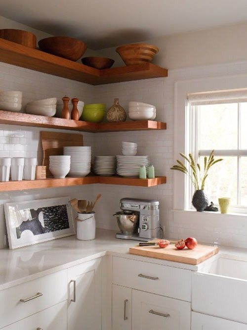 open shelving kitchens-and-small-spaces: Kitchens Shelves, Open Shelves, Small Kitchens, Subway Tile, Wood Shelves, Wooden Shelves, Open Kitchens, Corner Shelves, White Kitchens