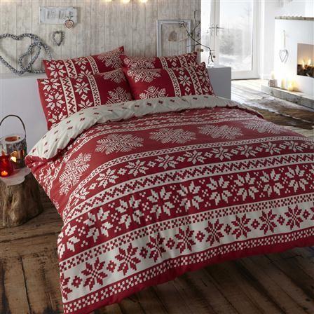Fundas de edredón y almohada de algodón peinado Innsbruck, 135 x 200 cm / rojo
