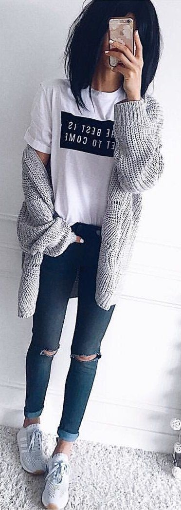 #winter #outfits white and black crew-neck shirt, gray cardigan, distressed blue fitted jeans and white Adidas sneakers outfit