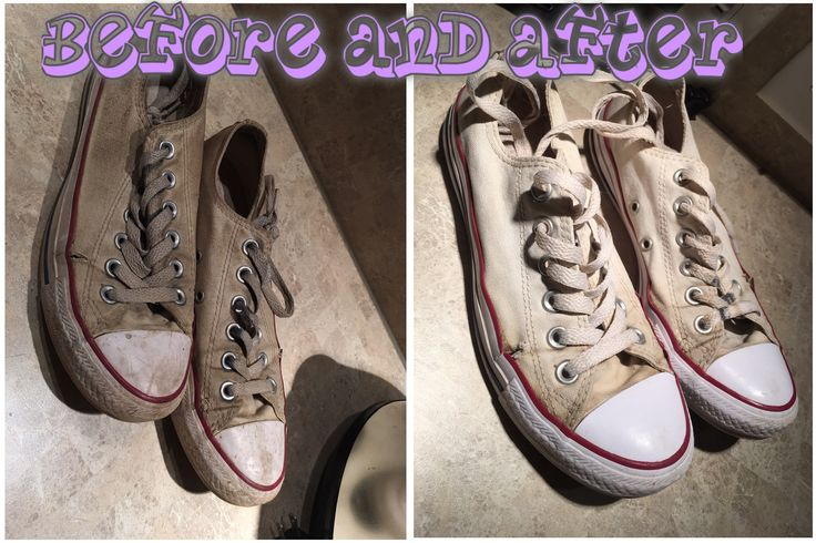 Before and after cleaning white converse water peroxide