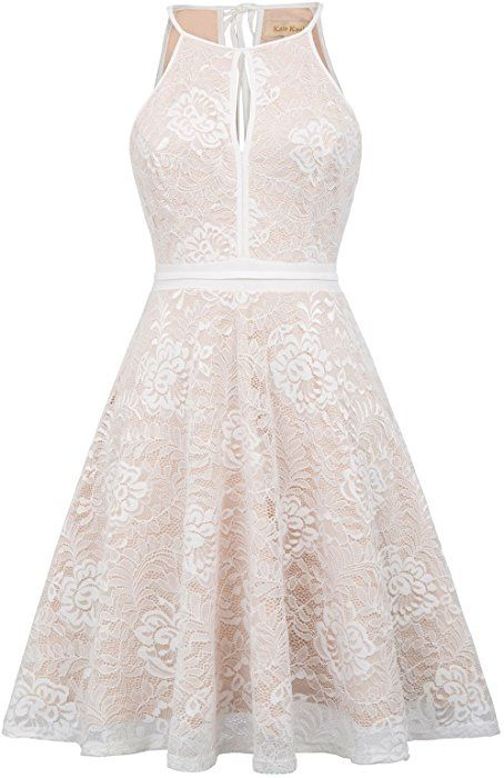 aba83c419 Kate Kasin Women Sleeveless Halter Lace Bridesmaid Wedding Dress Beige S  KK638-2 at Amazon Women's Clothing store: