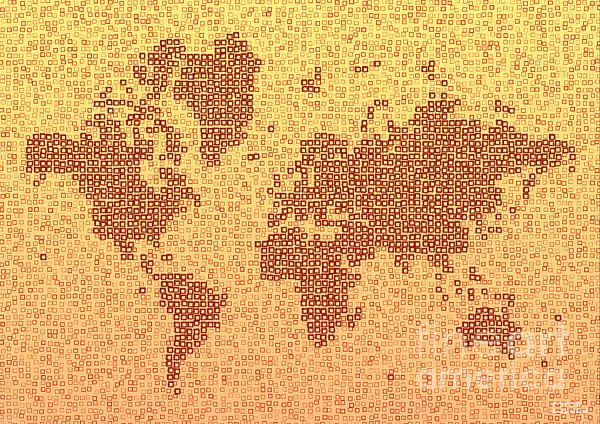 World Map Kotak In Yellow And Red by elevencorners. World map art wall print decor #elevencorners #mapkotak
