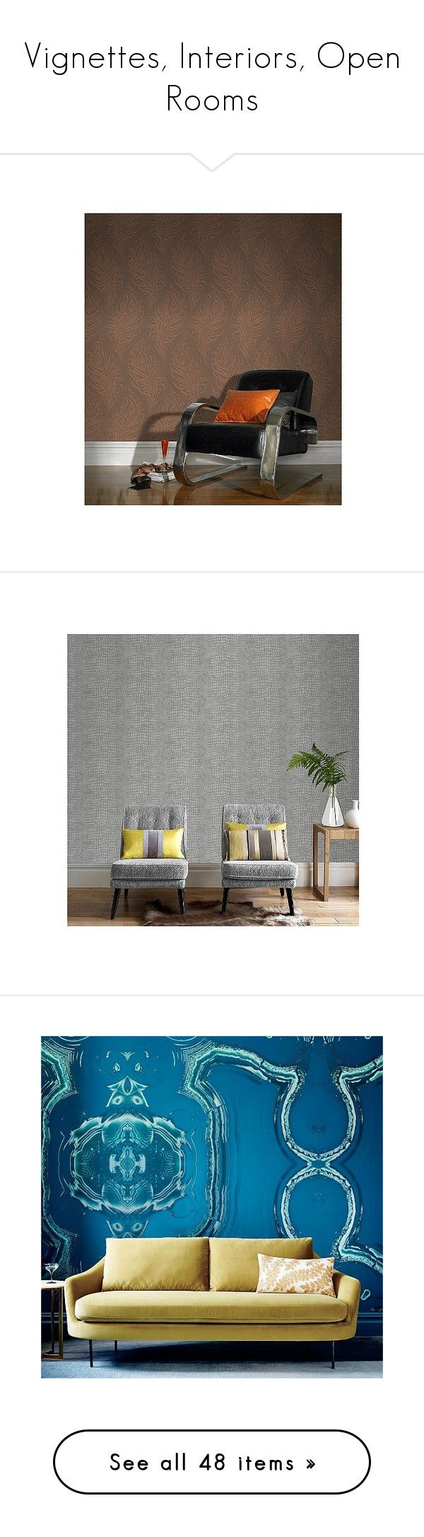 """""""Vignettes, Interiors, Open Rooms"""" by s-p-j ❤ liked on Polyvore featuring home, home decor, wallpaper, gold, shimmer wallpaper, graham brown wallpaper, grey, grey textured wallpaper, gray textured wallpaper and textured wallpaper"""