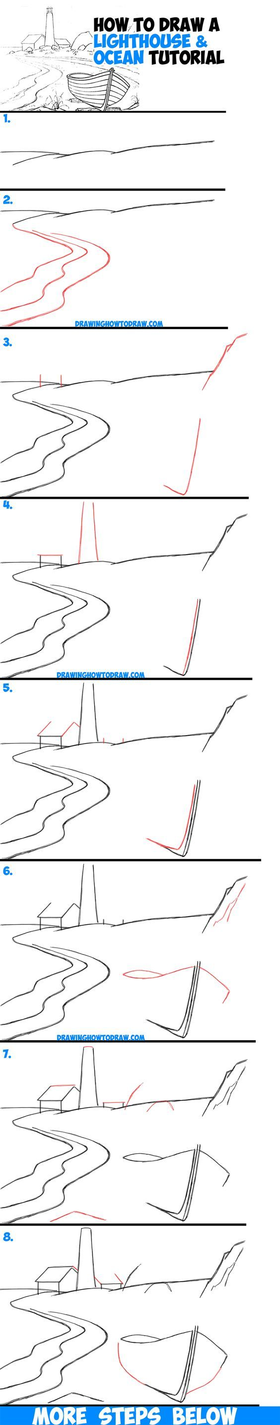 How To Draw A Lighthouse By The Sea Step By Step Drawing Tutorial For  Beginners And