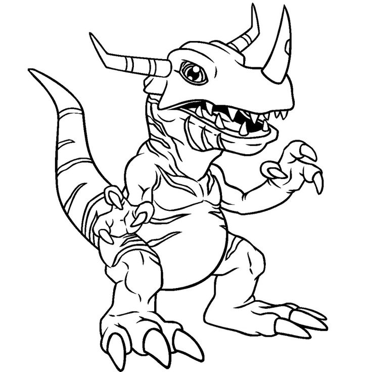 Greymon change of agumon coloring page