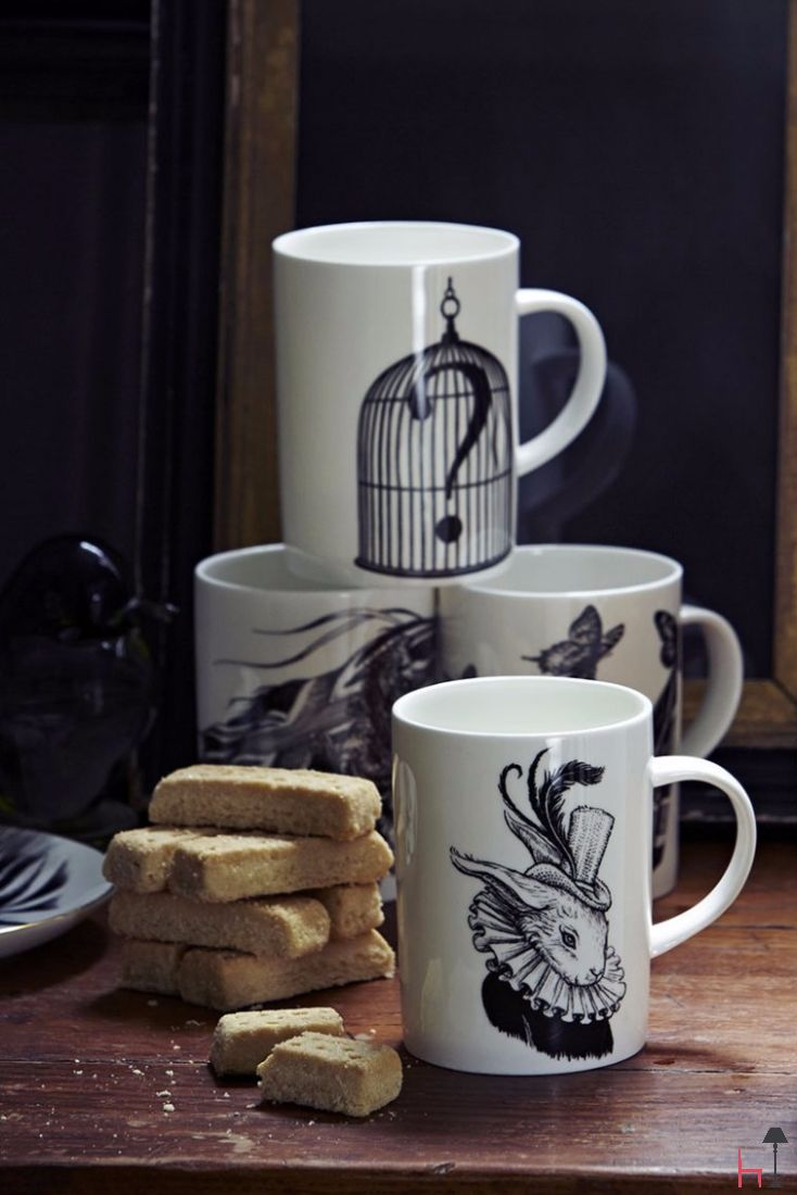 The marvellous Question Mark Birdcage mug is decorated with a jet black ink decal based on original Intricate Ink illustrations by Rory Dobner.