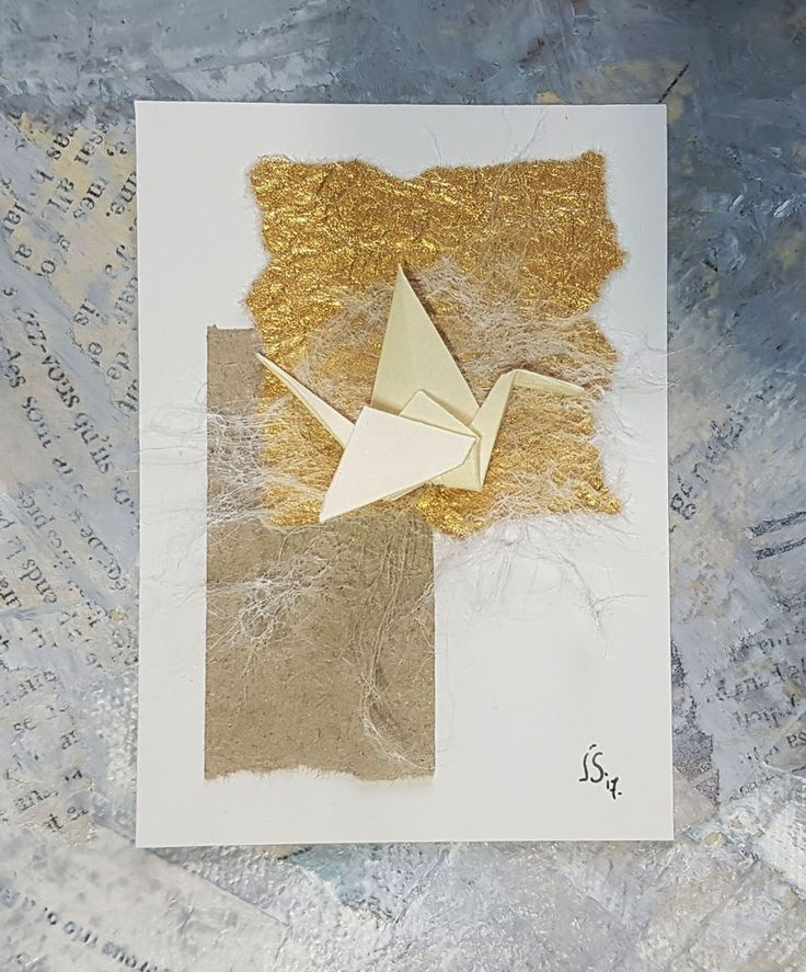 ACEO Origami Beige Crane-Paper Collage-Small Wall Art-ORIGINAL Not a PRINT-JUL  #Miniature