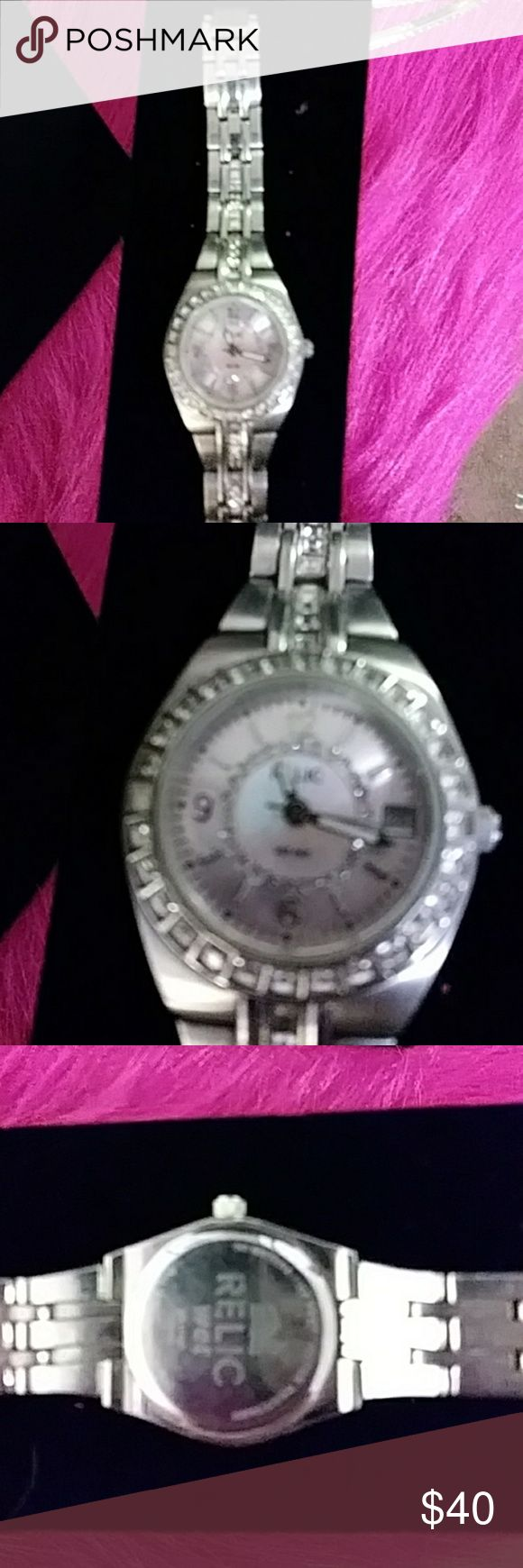 Fossil ladies watch Beautifual fossil watch stainless steel pink face sourrranded in diamonds Fossil Jewelry