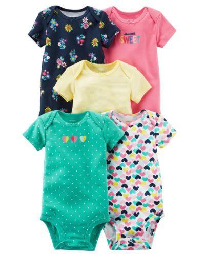3534dc81a Carter-039-s-Girls-5-Pack-Bodysuit-Sets-Newborn-3-6-9-12-Months ...