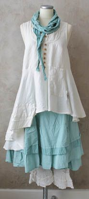 love the aqua and white! *~<3*Jo*<3~* I would put some short sleeves with this and lose the scarf