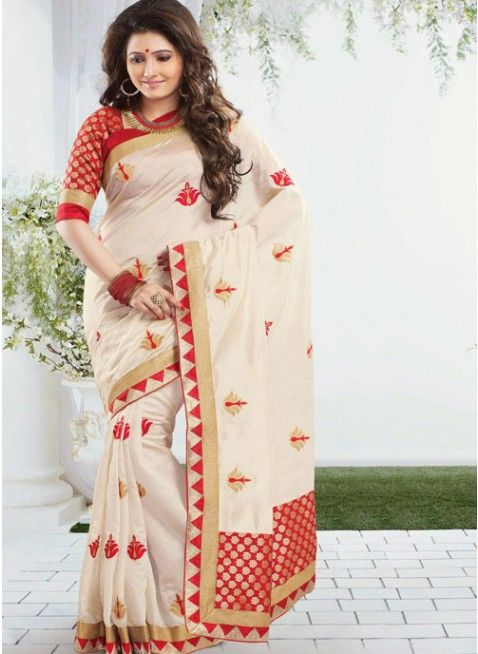 Divine Cream Embroidered Color Art Silk Based Embroidered #Saree #clothing #fashion #womenwear #womenapparel #ethnicwear