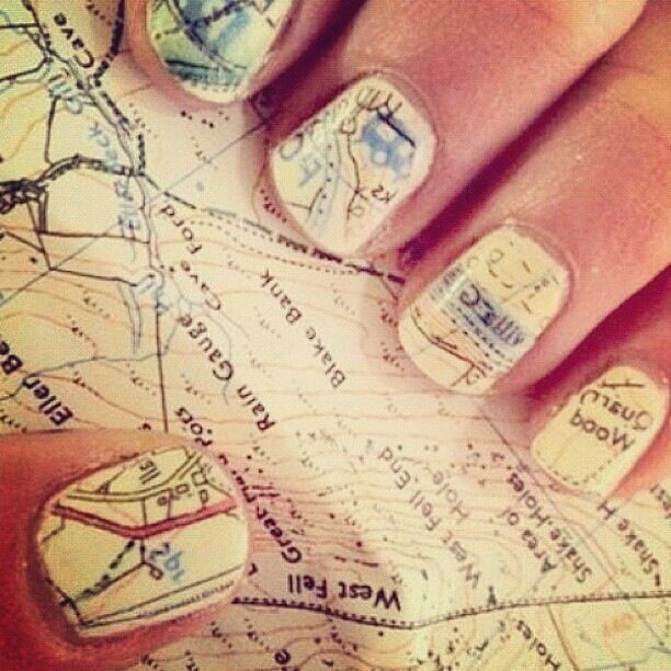 two of my favorite things fancy nail art and maps
