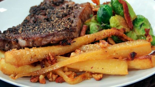 Maple Roasted Parsnips | Steven and Chris | Serve this elegant, yet easy-to-make side dish from Chef Jonathan Collins with his Steak au Poivre with Cognac Sauce and Brussels Sprouts with Chanterelles.