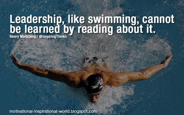 Leadership, like swimming, .....  Henry Mintzberg #leadership