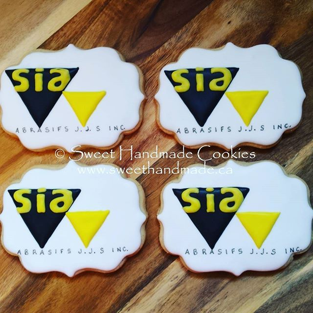 Logo cookies.  #sweethandmadecookies #customcookies #decoratedcookies #designercookies #cookies #bradfordontariocookies #siaabrasives